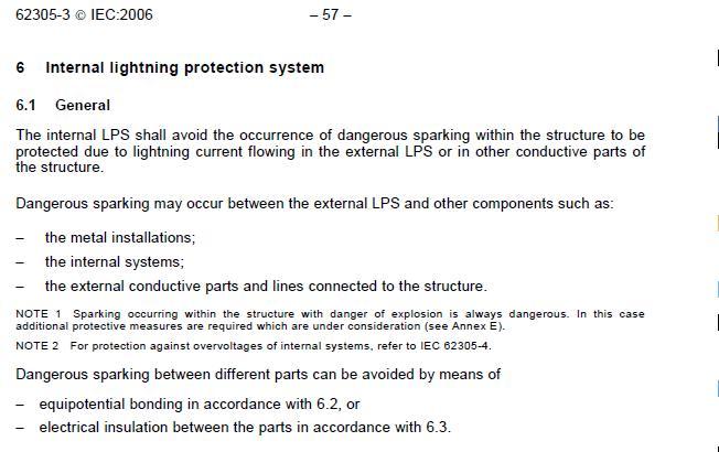 Internal lightning protection system