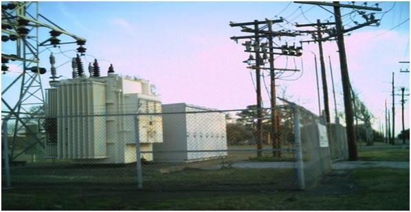 Fig 1: Primary metering with riser poles at a substation