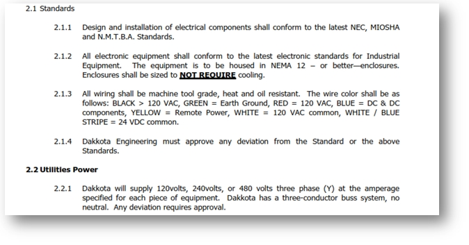 Section of an electrical specification document