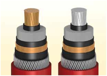 copper and aluminium conductor of a cable