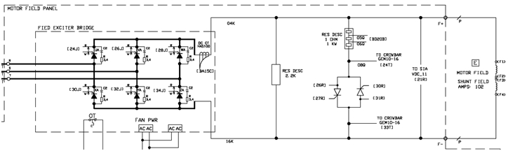Typical configuration of synchronous motor field circuit with SCR controlled crowbar