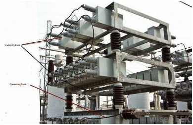 Power factor correction using capacitor tank in a substation