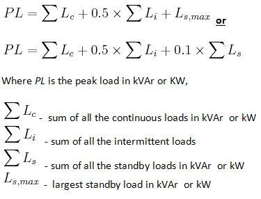 peak load formula