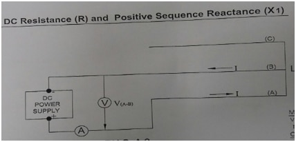 Circuit scheme for DC resistance and positive sequence reactance