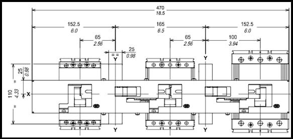 Figure 4: front interlocking plate to interlock between three low voltage circuit-breakers of different cubicles