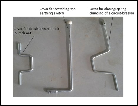 Figure 2: different lever types for mechanical switching and rack-in, rack-out functions