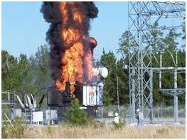 power transformer on fire