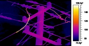 IR thermal image identifying heating conductor