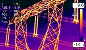 IR thermal image of a transmission line tower