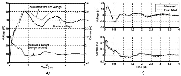 transformer  first-turn voltage measured calculated voltage