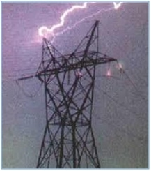 A transmission tower under lightning attack