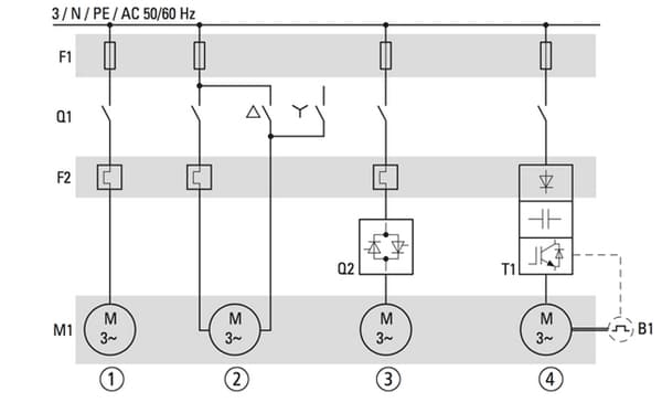 Variable speed/frequency drive electrical circuit