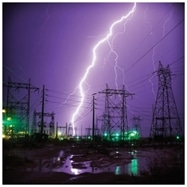 A substation gantry under lightning attack