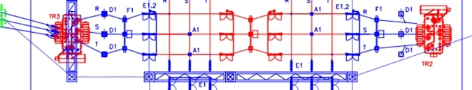 Fig4: An electrical/civil scheme, representing a circuit of a substation just as it is installed on the yard